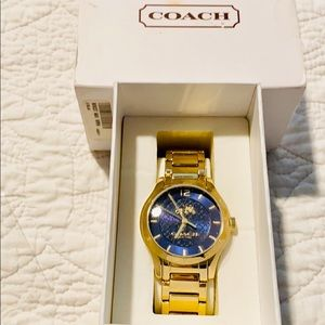 NWT Coach Gold Watch & Navy Blue color background